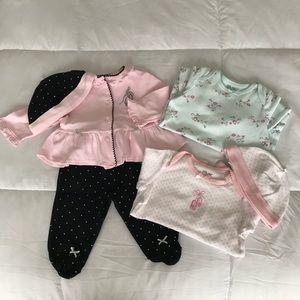 Bundle: Little Me 3 Piece Set + 2 Sleeping Gowns